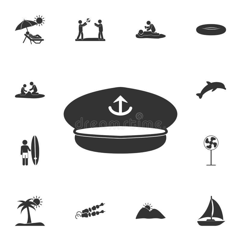 上尉盖帽象 详细的套夏天例证 优质质量图形设计象 其中一个网的汇集象 皇族释放例证