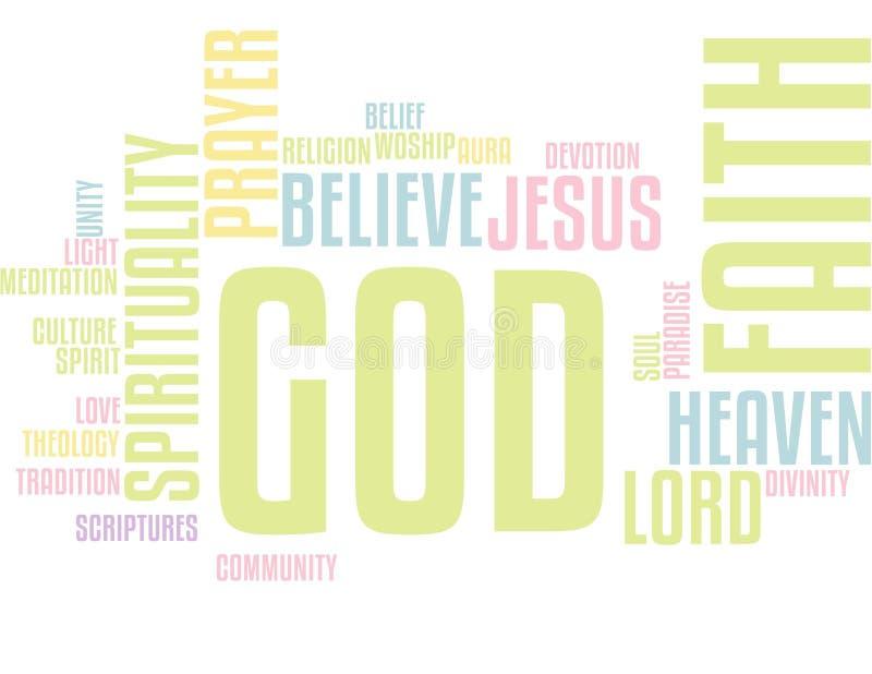 上帝信念词云彩 向量例证