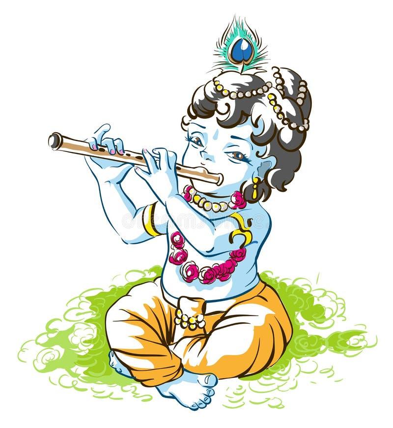 上帝克里希纳Janmashtami 演奏长笛的男孩牧羊人 库存例证