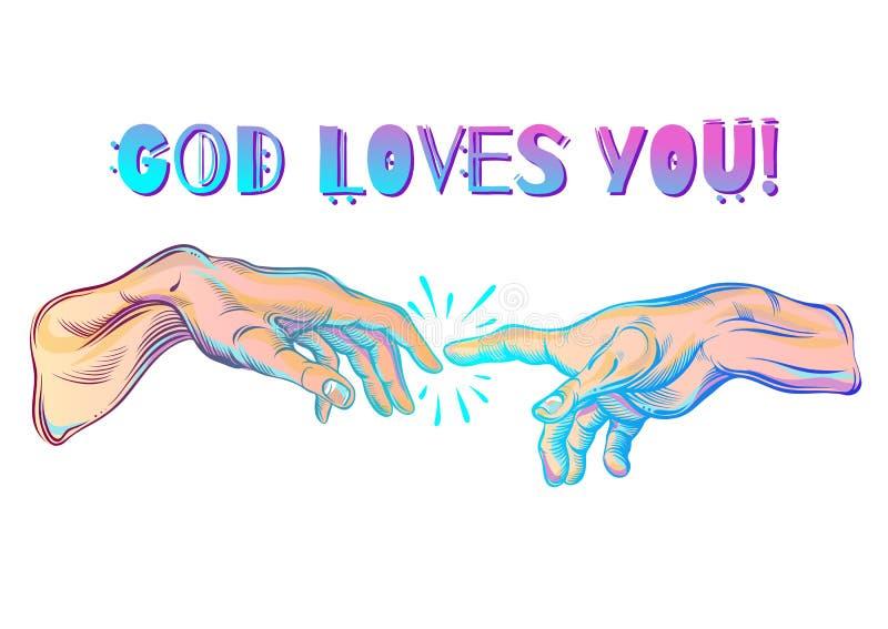 上帝和亚当斯手 例证现代向量 亚当的创建 宇宙和宗教动机的哲学 皇族释放例证