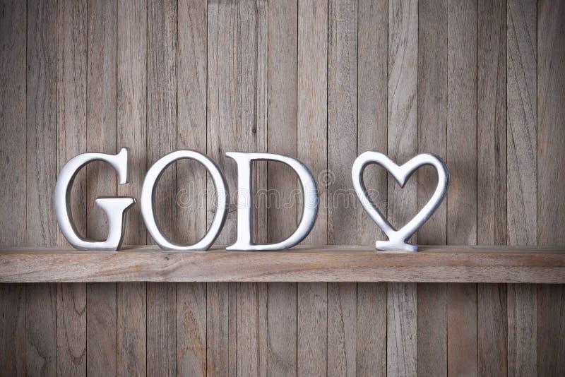 上帝基督徒爱木头背景 免版税图库摄影