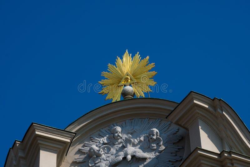 上帝标志的眼睛在海利希Geist Kirche的 图库摄影