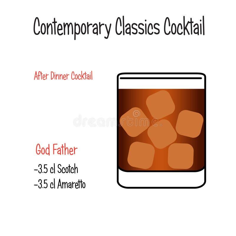 上帝父亲酒精鸡尾酒传染媒介例证食谱 向量例证