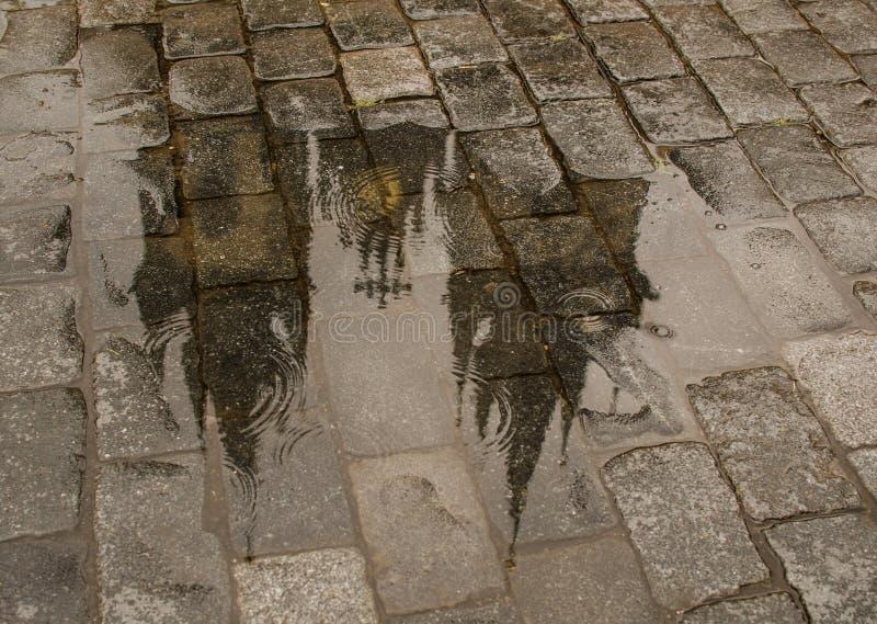 上帝的母亲教会在TÃ ½ n屋顶反射前的在水坑 库存图片
