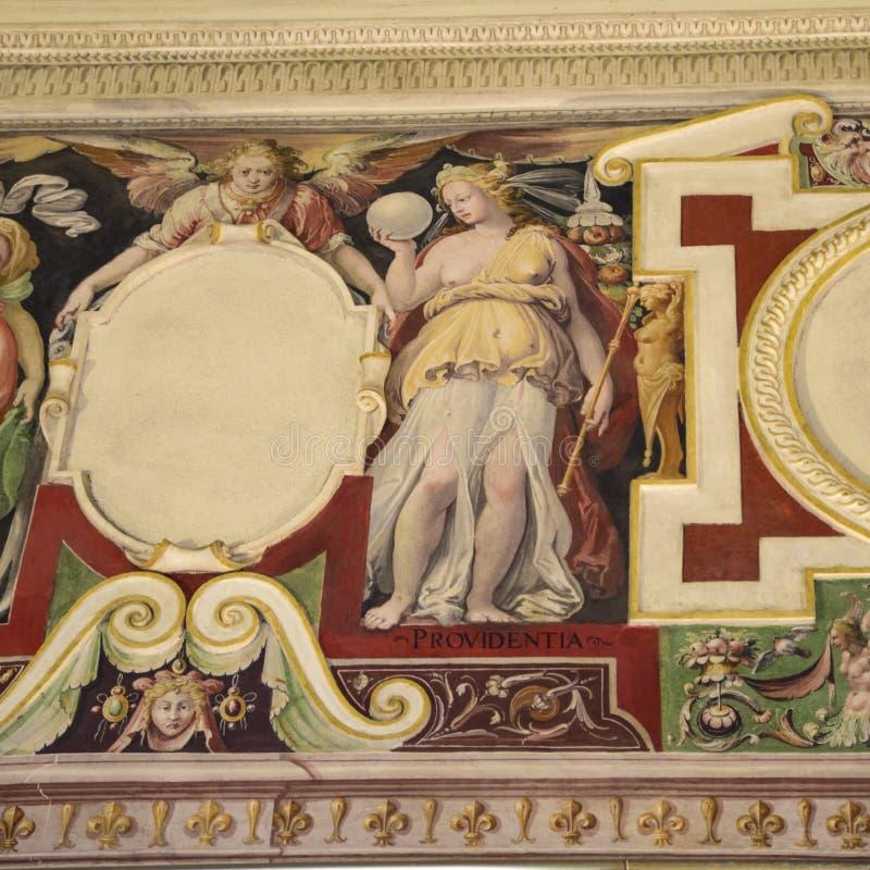 上帝的绘画作品 在别墅D ` Este的壁画, 免版税库存照片