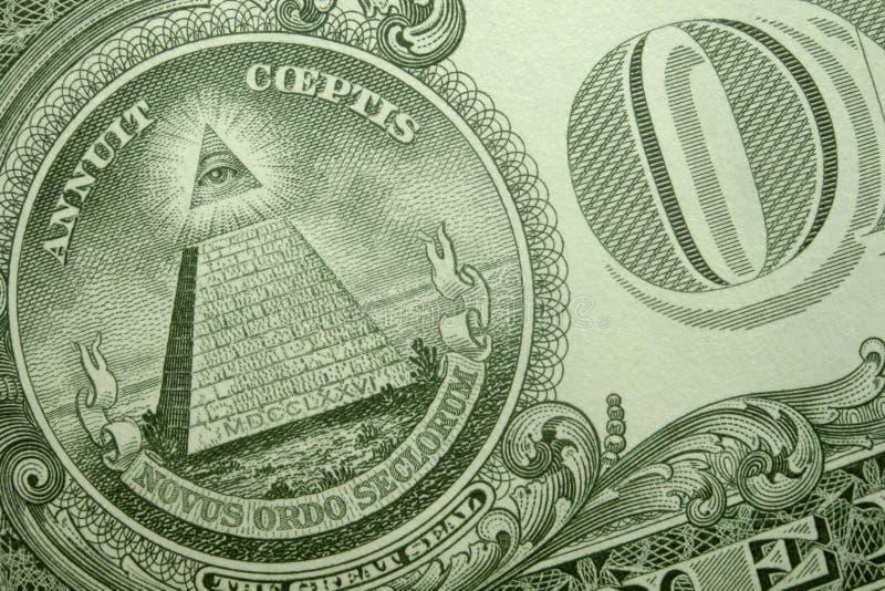 上帝的金字塔、眼睛和O一个在后面美国选拔 库存图片