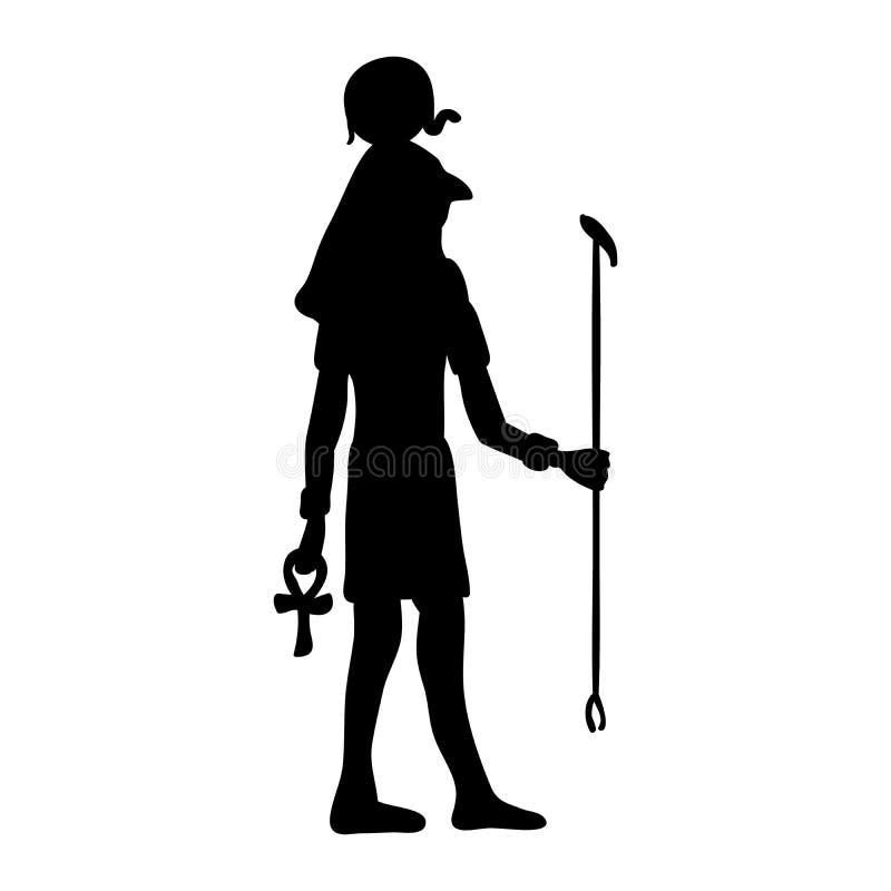 上帝镭Horus埃及埃及剪影古埃及 皇族释放例证
