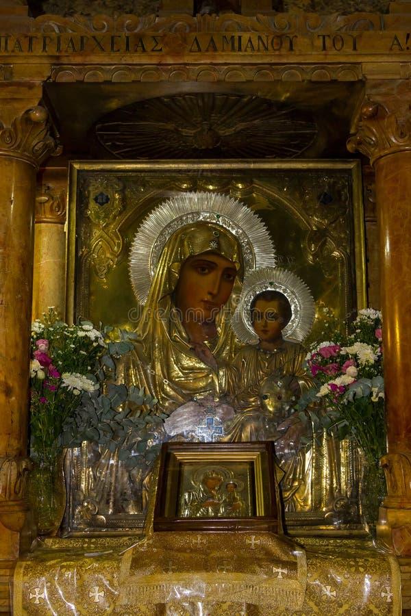 上帝,圣母玛丽亚,耶路撒冷的坟茔的母亲的象 库存照片