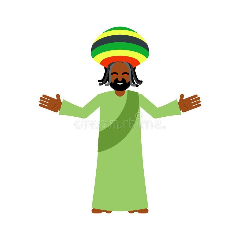 上帝ganja 神象Jah给rasta 雷鬼摇摆乐Rastafarian帽子和drea 库存例证