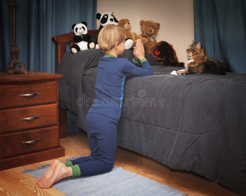 上床时间祷告 免版税库存照片