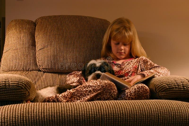 上床时间舒适读取 库存图片