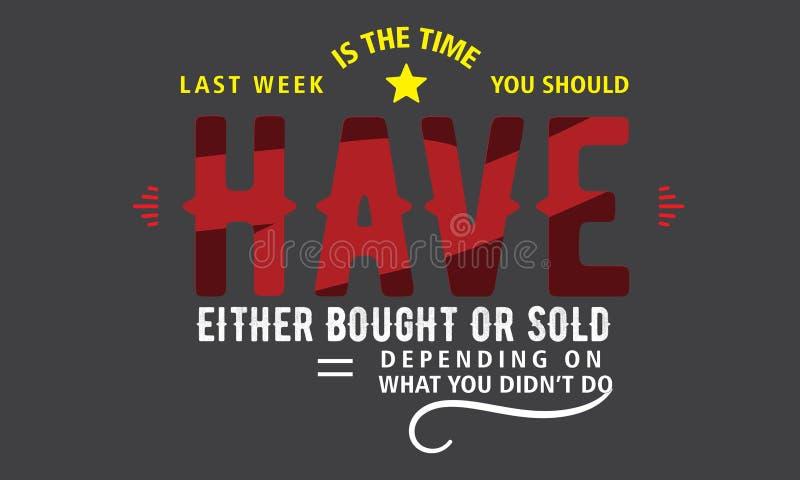 上星期是您应该买了或卖了的时间 皇族释放例证