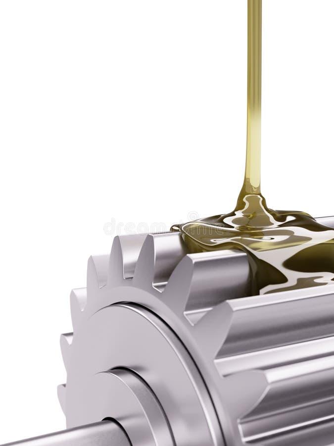 上油的齿轮特写镜头3d例证 库存照片