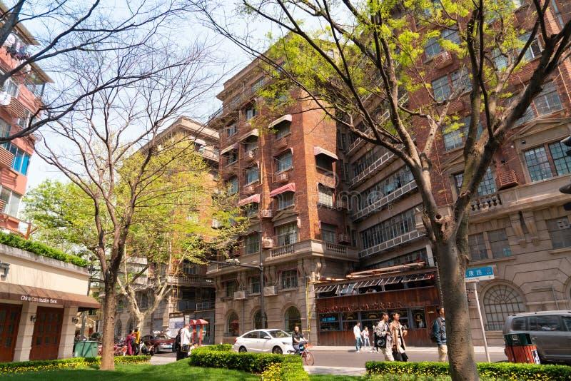 上海中国,2019年4月:在武冈路的老公寓在上海 免版税库存照片