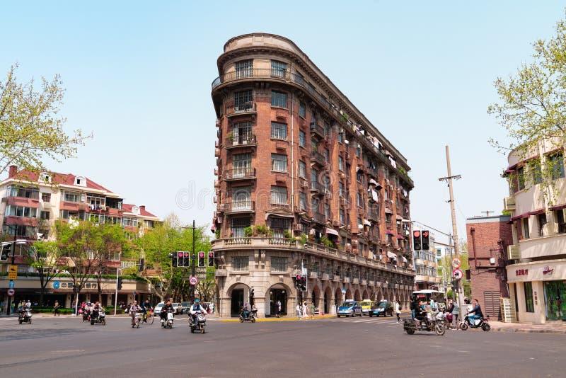 上海中国,2019年4月:在武冈路的老公寓在上海 免版税库存图片