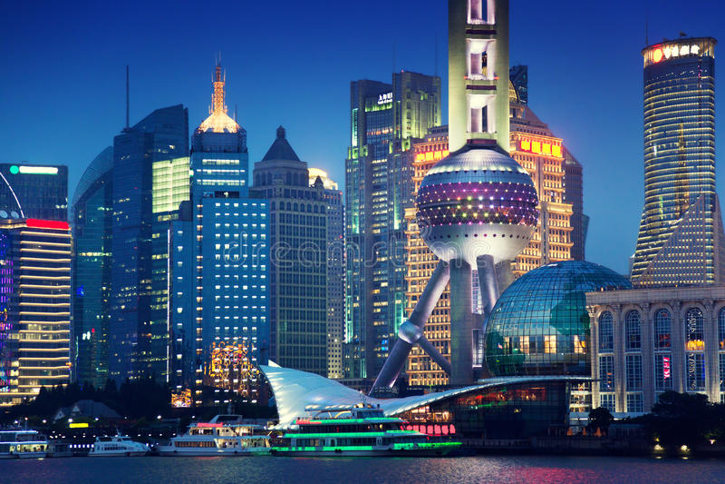 上海在晚上,中国 库存图片