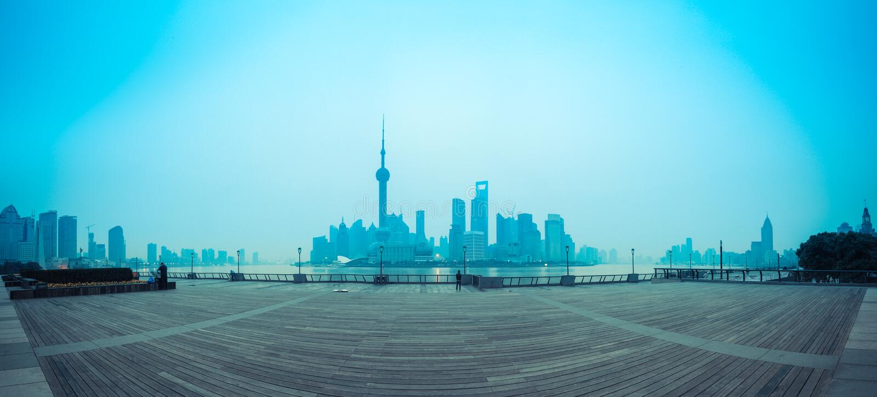 上海地平线在黎明 免版税图库摄影