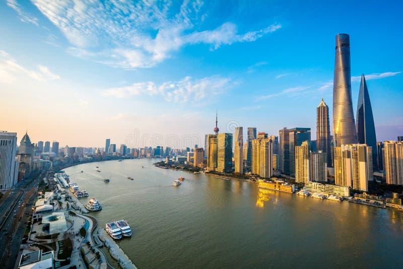 上海浦东地平线日落,中国 图库摄影