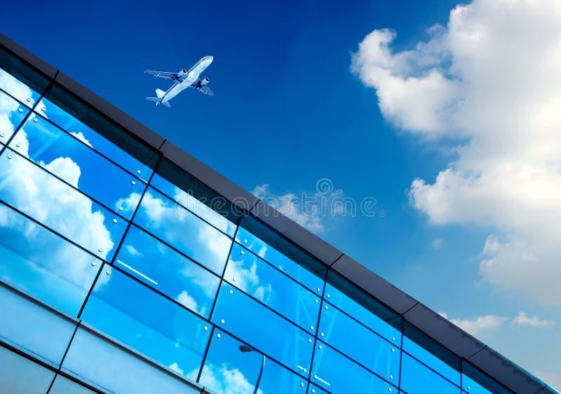 上海浦东机场的航空器 库存图片