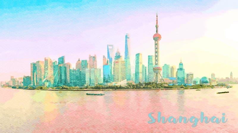 上海的地平线的水彩日落的 库存图片