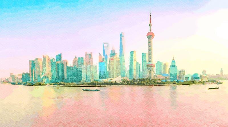 上海的地平线的水彩日落的 免版税图库摄影