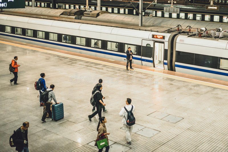从上海的高速火车向北京 免版税库存图片