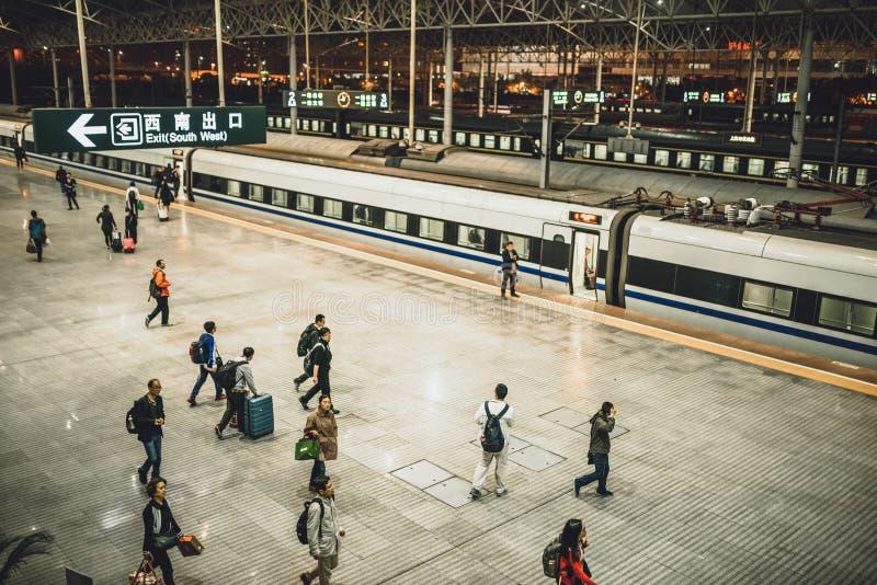 从上海的高速火车向北京 库存照片