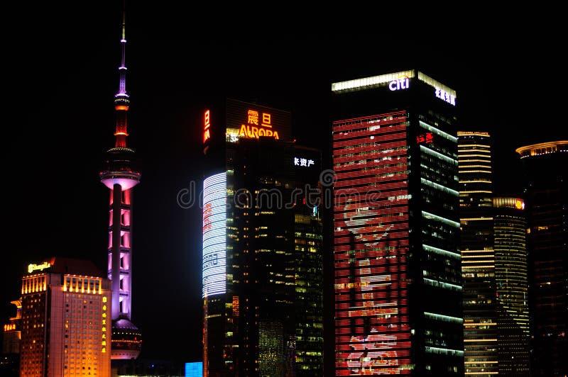 上海陆家嘴夜场面 库存图片