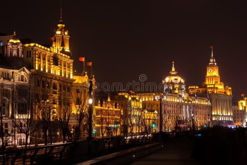 上海障壁在晚上,中国 库存图片