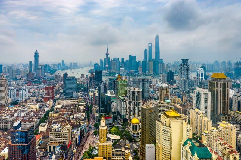 上海,中国鸟瞰图 库存图片