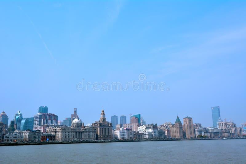 上海-障壁或外滩地平线 免版税图库摄影