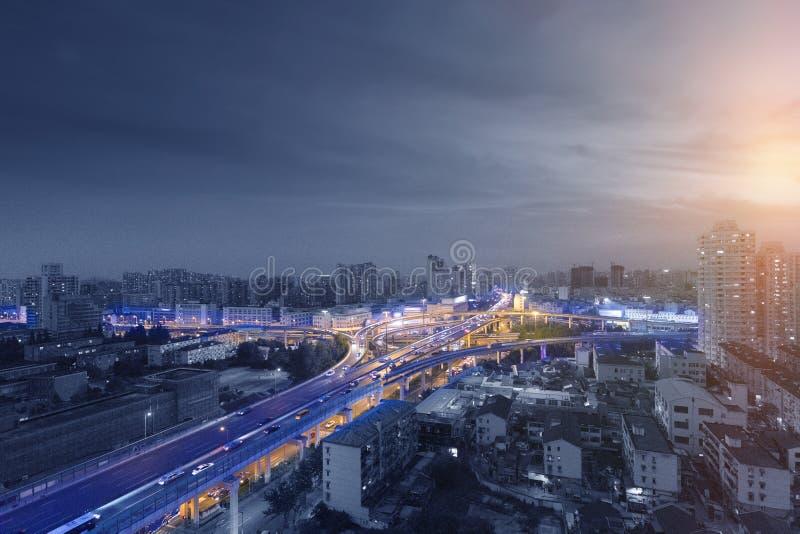 上海` s都市天桥 库存照片