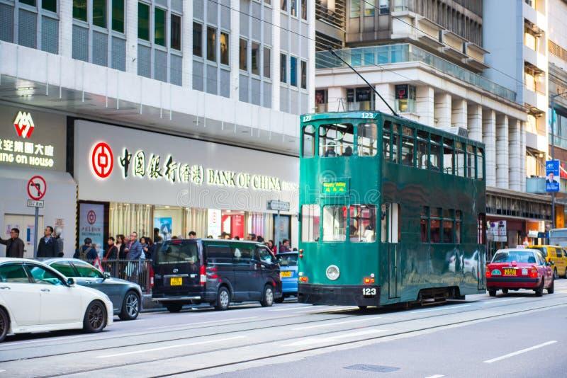 上环,香港- 2018年1月14日:tra的香港电车 免版税图库摄影