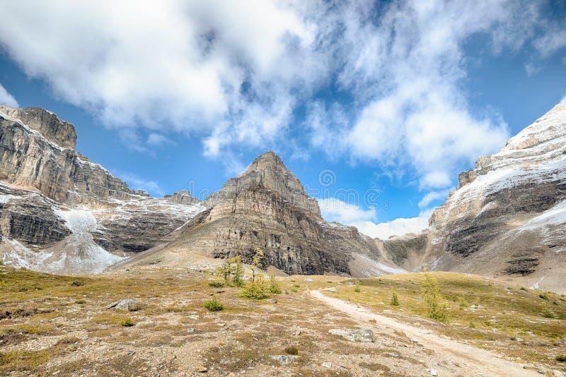 登上石峰,稍兵通行证,班夫国家公园 库存照片