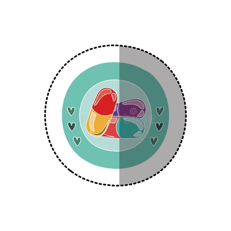 上色与中间阴影贴纸的圆框架与药片 向量例证
