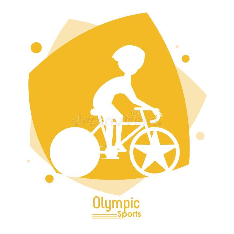 上色与剪影匿名的自行车车手奥林匹克体育的抽象场面 库存例证