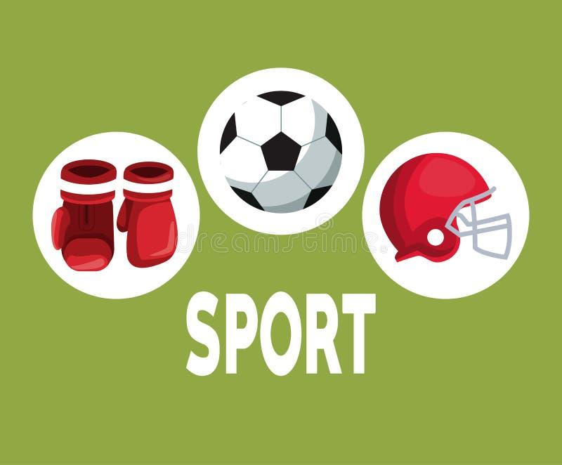 上色与圆框架的背景与拳击手套盔甲橄榄球,并且足球象元素炫耀 向量例证