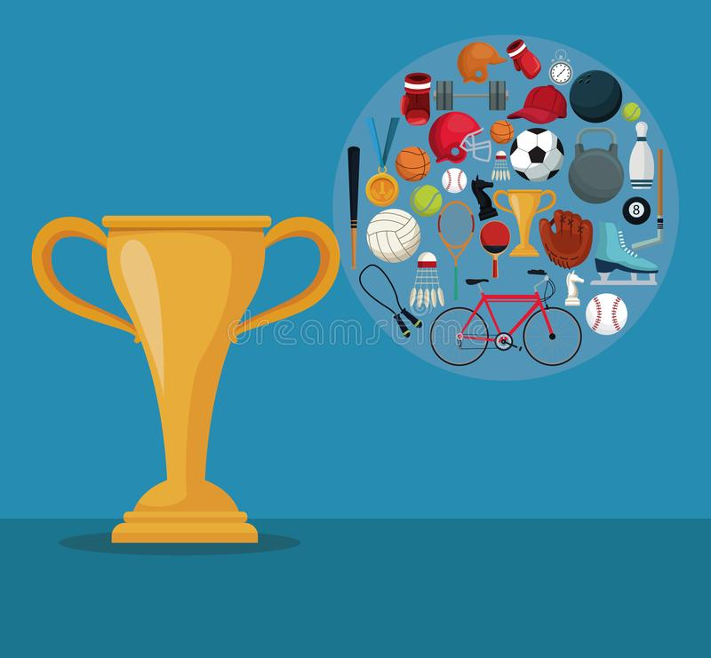 上色与奖杯元素体育战利品和象的背景在圆框架的 向量例证