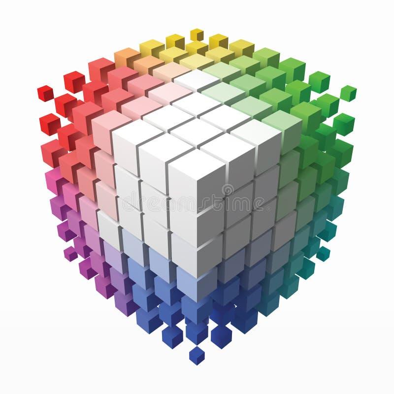 上色与小立方体的理论立方体在角落 3d样式传染媒介例证 皇族释放例证