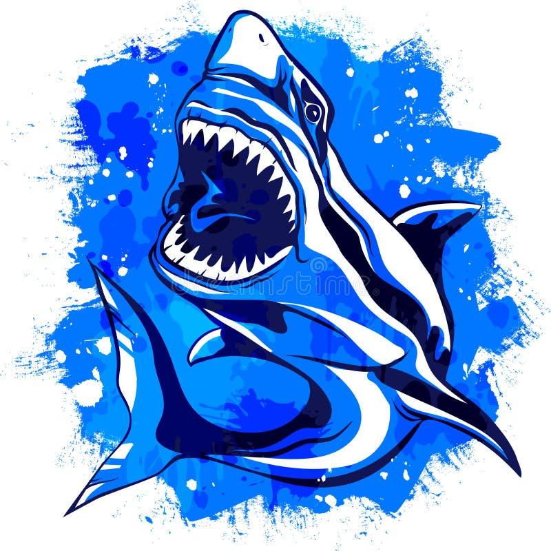 上色与开放嘴的水彩积极的鲨鱼 皇族释放例证