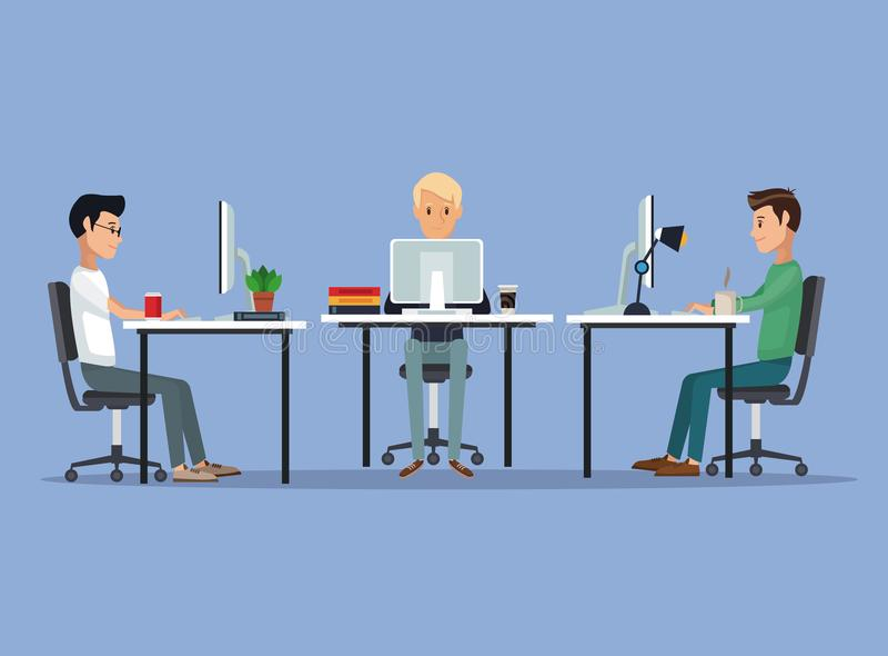 上色与网络开发商小组人的场面背景书桌编程语言的 向量例证
