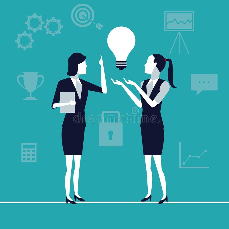 上色与行政妇女的背景想法企业成长的一代的 库存例证