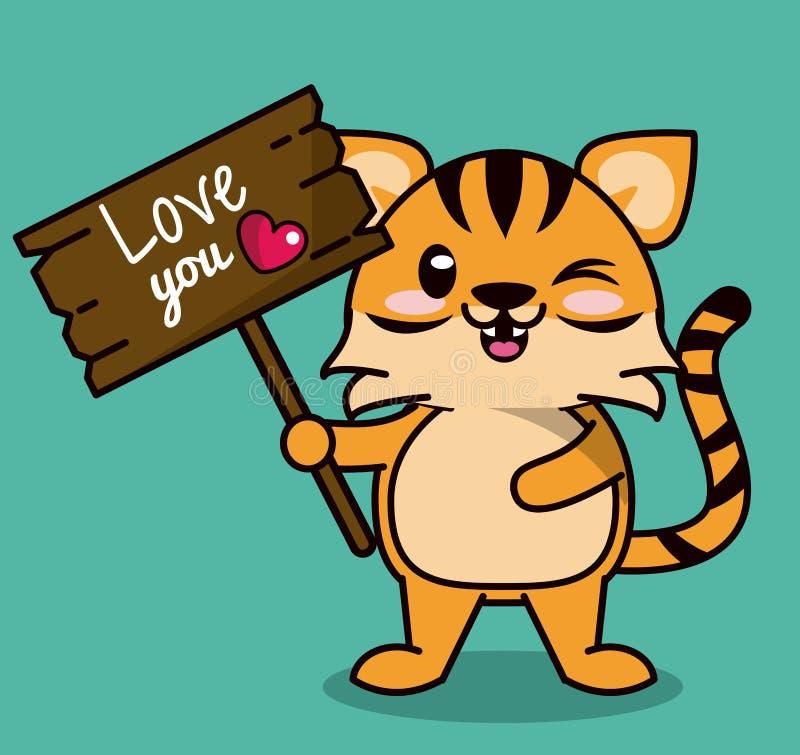 上色与逗人喜爱的站立充满木标志爱您的kawaii动物条纹老虎的背景 库存例证