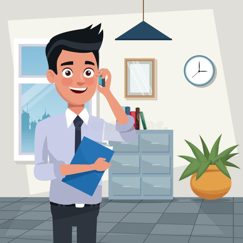 上色事务的背景工作场所办公室半身体年轻人字符与文件夹并且与手机谈话 库存例证