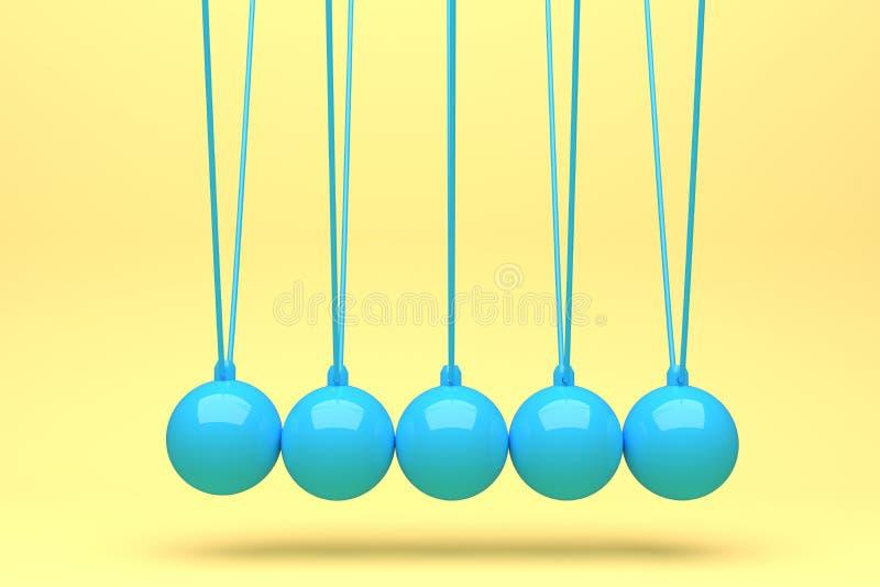 上色充分的牛顿球,平衡球,设计,玩具,桃红色,蓝色,黄色,紫罗兰色,背景,动量摇摆,运动,孤立,3d 库存例证