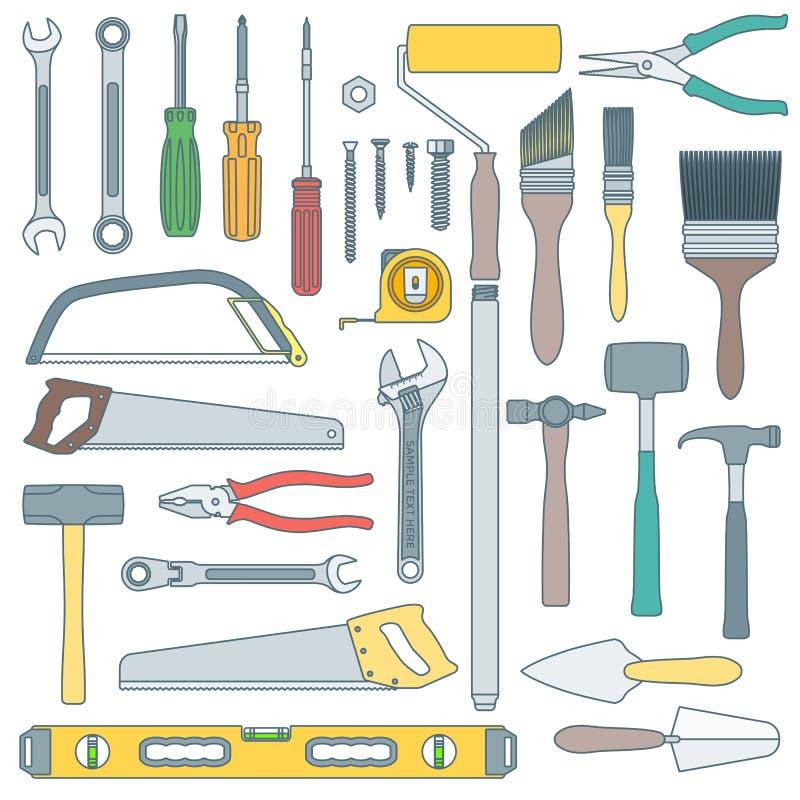 上色各种各样的房子改造被设置的仪器的概述 库存例证