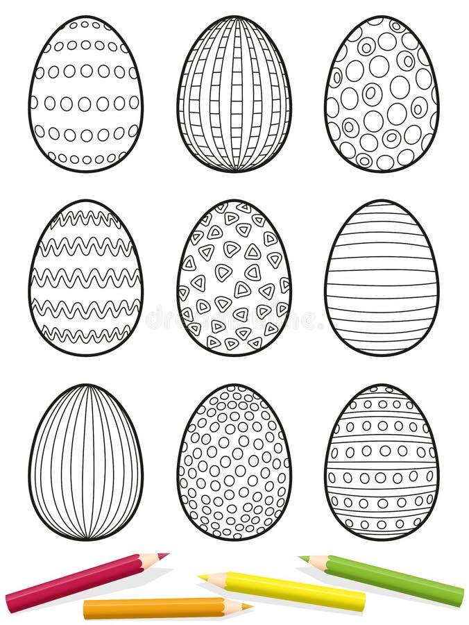 上色图片的复活节彩蛋 库存例证