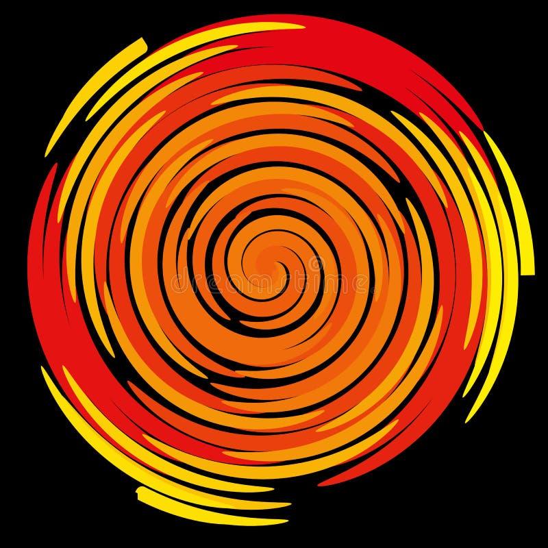 上色在黑背景的螺旋,抽象 向量例证