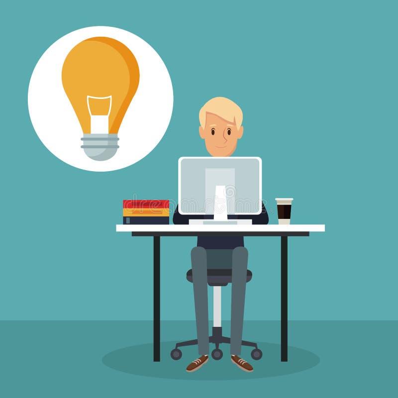 上色场面背景侧视图书桌象电灯泡的网络开发商人 库存例证