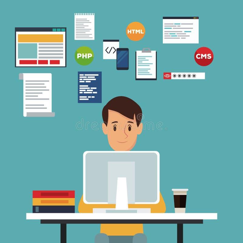 上色场面背景正面图书桌编程语言的网络开发商人 向量例证